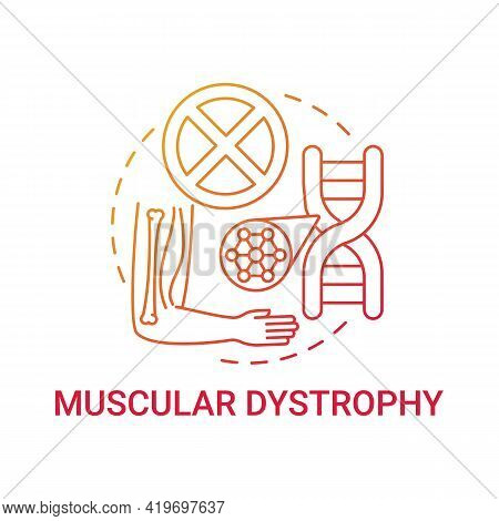Muscular Dystrophy Red Gradient Concept Icon. Health Issue. Chromosome Mutation. Hereditary Illness.
