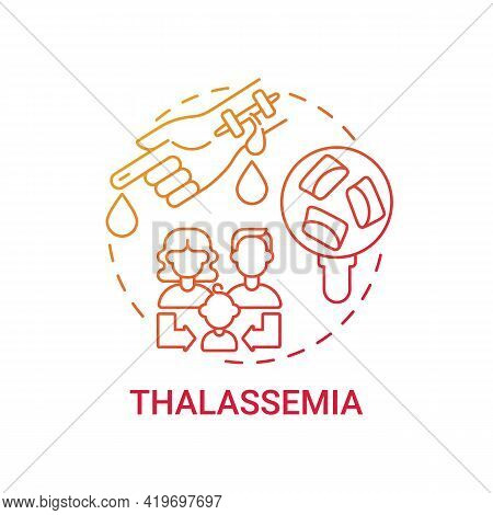 Thalassemia Red Gradient Concept Icon. Blood Disorder. Inherited Illness. Hereditary Sickness. Genet