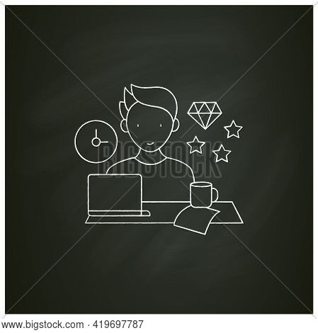 Perfectionist Procrastinator Chalk Icon. Set Large, Unattainable Goals. Tired To Solve Tasks.procras
