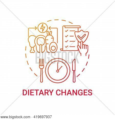 Dietary Changes Red Gradient Concept Icon. Healthy Lifestyle. Eating Program. Nutrient Food. Genetic
