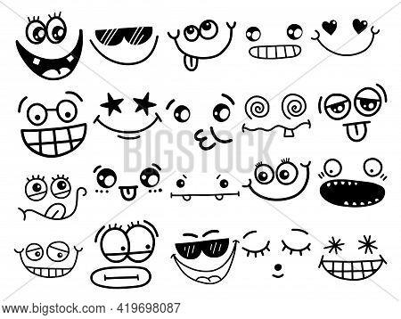 A Funny Set Of Cartoon Doodle Facial Expressions.