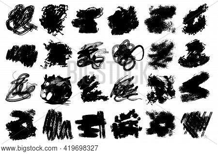 A Set Of Artistic, Grunge, Ink Scribble Design Elements.