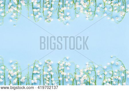 Lily Of The Valleys Flowers On A Light Blue Background. Mothers Day, Valentines Day, Bachelorette