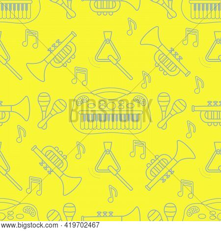 Vector Seamless Pattern With Children's Musical Toys. Illustration With Musical Instruments. Maracas