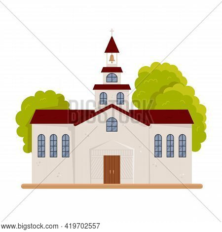 Christian Or Protestant Church Building Isolated. Holy Place For Have Audience With Pastor. Public R