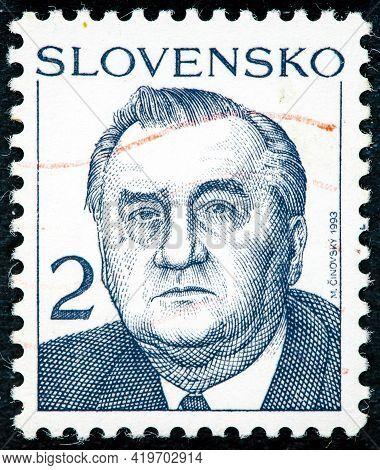 Slovakia - Circa 1993: Postage Stamp Printed In Slovakia Shows Slovak Politician Michal Kovac, Membe