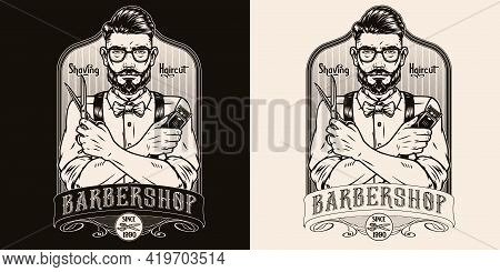 Barbershop Vintage Monochrome Label With Inscription Stylish Barber In Glasses Shirt Bow Tie Trouser