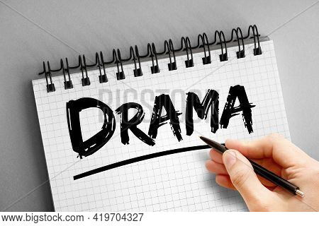Drama - Text On Notepad, Concept Background