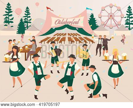 Oktoberfest Flat Vector Illustration. Beer Tent. Folk Music And Dances. Beer Festival, October Fest