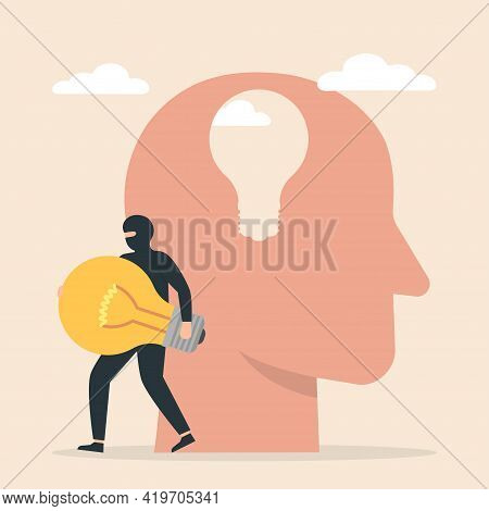 Thief Stealing Lightbulb From Man Head. Business Idea Thief. Concept Of Plagiarism, Theft Of Ideas,