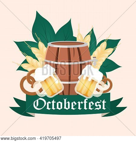 Oktoberfest Social Media Post Mockup. Barrel And Cups Of Alcohol. Beer Festival. Advertising Web Ban