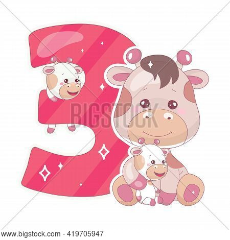 Cute Three Number With Baby Giraffe Cartoon Illustration. School Math Funny Font Symbol And Kawaii A