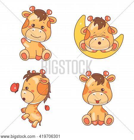 Cute Giraffe Kawaii Cartoon Vector Characters Set. Adorable And Funny Animal Winking, Sleeping And P