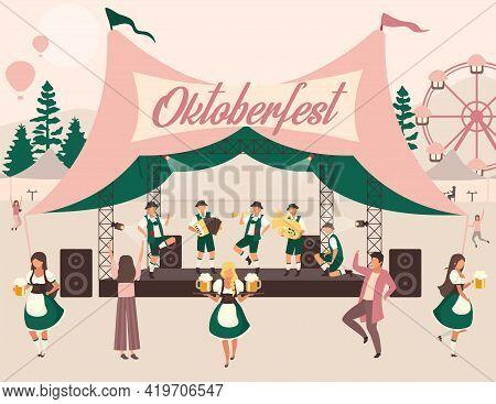 Oktoberfest Flat Vector Illustration. Beer Festival, October Fest Concert. Folk Performance In Tent.