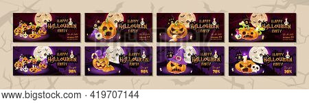 Happy Halloween Party Flat Banner Vector Templates Set. October Holiday Event Invitation Design Layo