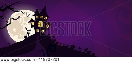 Halloween Scary Vector Background. Spooky Graveyard And Haunted House At Night Cartoon Illustration.