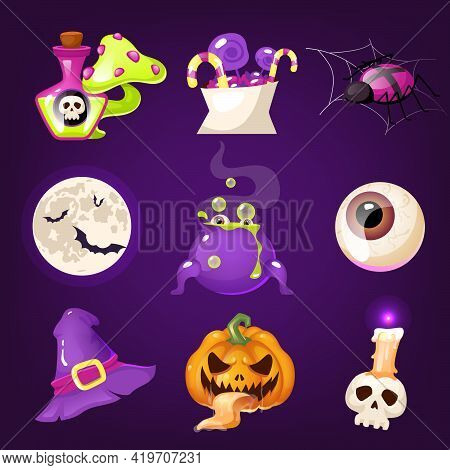 Halloween Decoration Cartoon Vector Set. Realistic Spooky And Scary Items Isolated On Purple. Magic