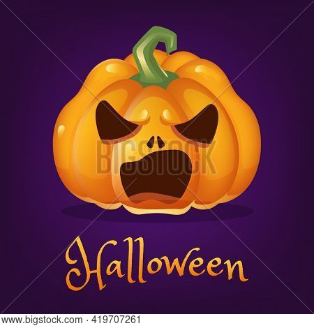 Spooky Pumpkin Cartoon Vector Illustration. Halloween Lantern With Evil Smile Isolated Clipart With