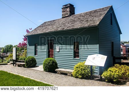 NORWALK, CONNECTICUT - MAY 6, 2021: Governor Fitch Law Office c1740  located at Mill Hill historic park