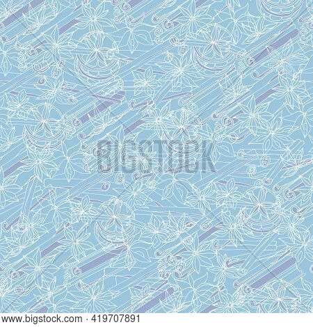 Blue Seamless Pattern With A Contour White Spices. Cinnamon Sticks, Anise Stars And Orange Slices. V