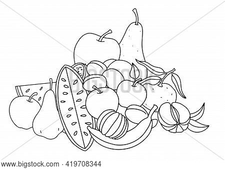 Fruit. Still Life With Different Fruits, Black Outlines For Childrens Coloring, Outlined Design. Vec