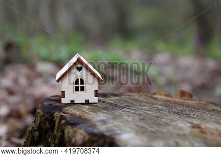 Wooden House Model In A Forest On Mossy Stump On Blurred Background. Concept Of Country Cottage, Rea