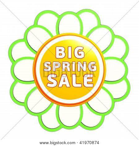 Big Spring Sale Green Orange Flower Label