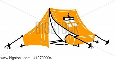 Hand Drawn Tent Doodle Icon. Simple Black Stroke. Tent Stretched A Rope Tied To Wooden Peg In Grass.