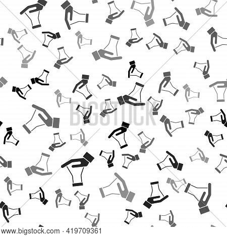 Black Test Tube And Flask Chemical Laboratory Test Icon Isolated Seamless Pattern On White Backgroun