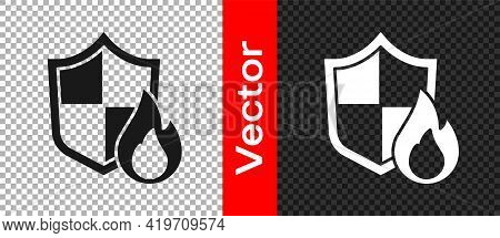 Black Fire Protection Shield Icon Isolated On Transparent Background. Insurance Concept. Security, S