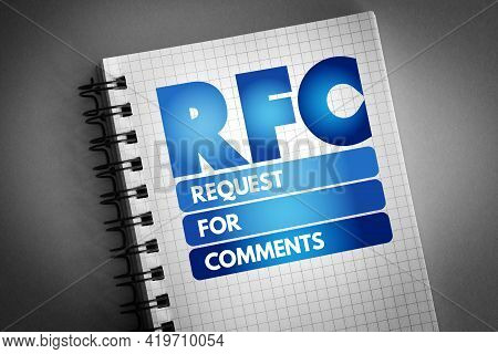 Rfc- Request For Comments Acronym On Notepad, Concept Background