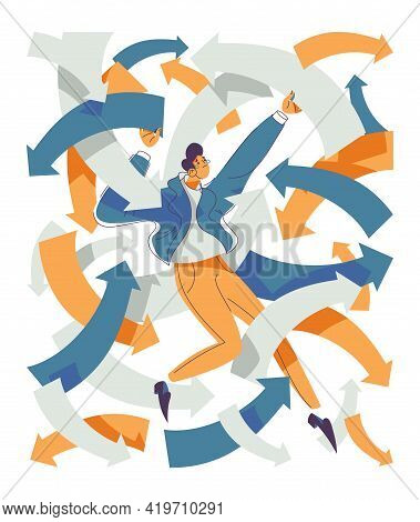 Adhd Concept Illustration Isolated On White. Vector Man Trying To Catch All Vectors And Arrows Of Hi