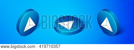 Isometric Geometric Figure Tetrahedron Icon Isolated On Blue Background. Abstract Shape. Geometric O
