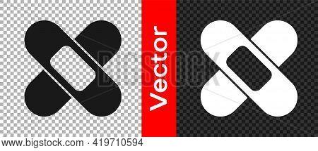Black Crossed Bandage Plaster Icon Isolated On Transparent Background. Medical Plaster, Adhesive Ban