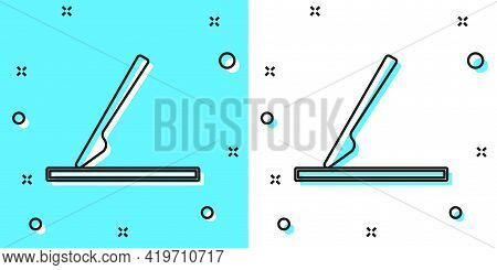 Black Line Medical Surgery Scalpel Tool Icon Isolated On Green And White Background. Medical Instrum