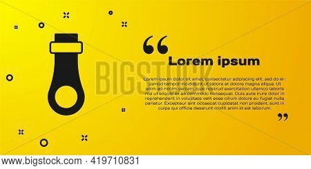 Black Zipper Icon Isolated On Yellow Background. Vector
