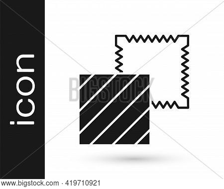 Black Textile Fabric Roll Icon Isolated On White Background. Roll, Mat, Rug, Cloth, Carpet Or Paper
