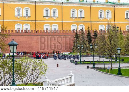 May 6, 2021, Russia, Moscow. Rehearsal Of The Parade On May 9, Laying Flowers In The Alexander Garde