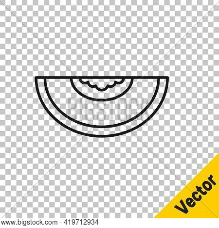 Black Line Melon Fruit Icon Isolated On Transparent Background. Vector