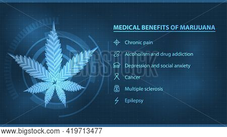Medical Benefits Of Marijuana, Dark And Blue Digital Poster With Infographic And Silhouette Of Canna