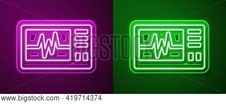 Glowing Neon Line Computer Monitor With Cardiogram Icon Isolated On Purple And Green Background. Mon