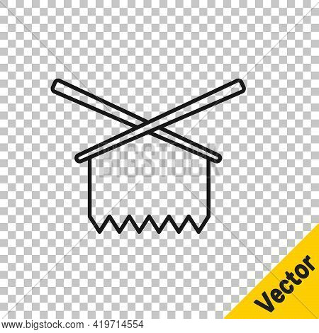 Black Line Knitting Needles Icon Isolated On Transparent Background. Label For Hand Made, Knitting O