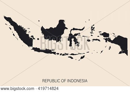 Highly Detailed Indonesia Map With Borders Isolated On Background