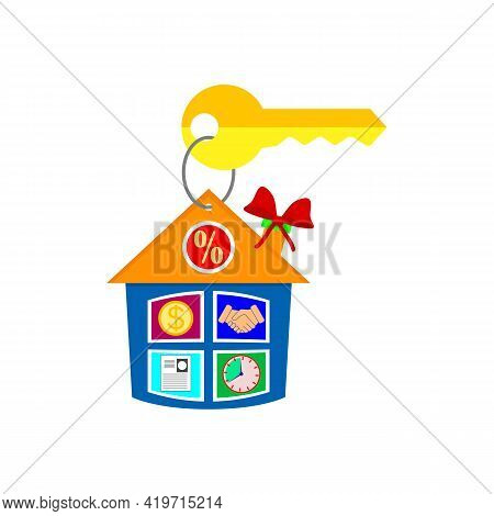 Pendant House And Key. Keychain With Key Ring. Concept For Real Estate Agents And Agencies, Sale And