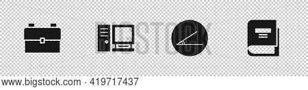 Set School Backpack, Computer Monitor, Acute Angle And Book Icon. Vector