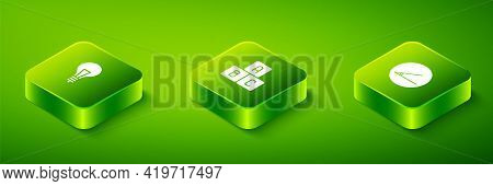 Set Isometric Abc Blocks, Acute Angle And Light Bulb With Concept Of Idea Icon. Vector