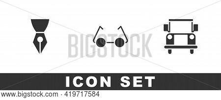 Set Fountain Pen Nib, Glasses And School Bus Icon. Vector