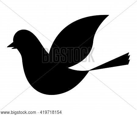 Dove. Silhouette. The Bird Flaps Its Wings. Pigeon Is A Symbol Of Peace. Vector Illustration. The Bi