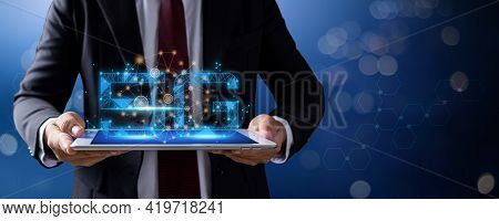 5g Network Symbol With Line Connection, Businessman Holding  Tablet With Internet Service And Online