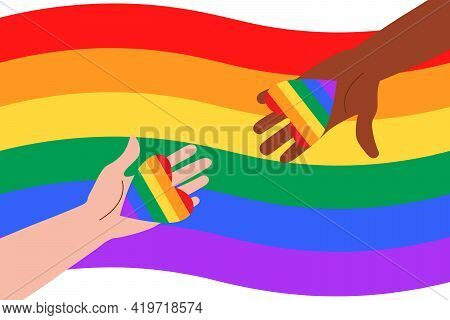 People At The Pride Parade Hold Flags And Posters With The Lgbt Symbol. The Right To Self-affirmatio
